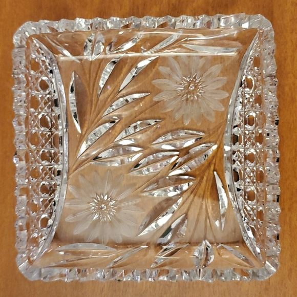 Vintage Etched Lead Crystal Daisy Candy Dish